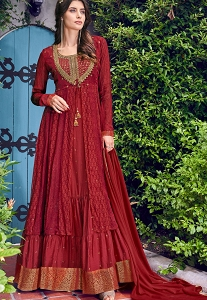 Maroon Art Silk Embroidered Jacket Style Anarkali Suit - 6404