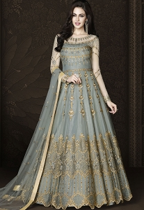 Grey Net Long Embroidered Designer Anarkali Suit - 6432