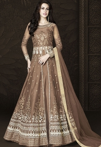 Brown Net Floor Length Embroidered Lehenga Anarkali Suit - 6434