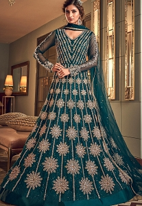 Blue Net Embroidered Floor Length Anarkali Suit - 6502