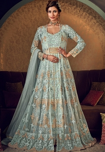 Sky Blue Net Embroidered Anarkali Gown Suit - 6509