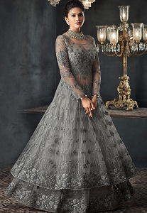 Grey Net Heavy Embroidered Lehenga Style Anarkali Suit - 66001
