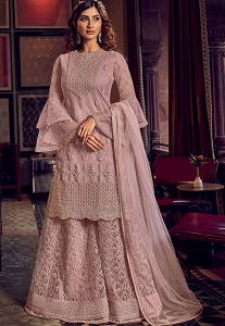 Mauve Net Embroidered Pakistani Palazzo Suit - 6601