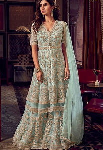 Light Blue Net Embroidered Pakistani Palazzo Suit - 6604
