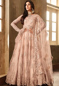 Sonal Chauhan Peach Net Embroidered Heavy Anarkali Suit - 6701