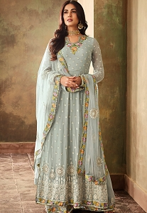 Sonal Chauhan Sky Blue Georgette Embroidered Designer Anarkali Suit - 6703