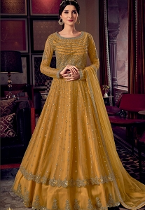 Yellow Net Embroidered Floor Length Anarkali Suit - 6803