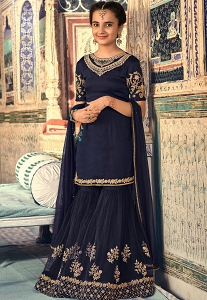 Navy Blue Georgette Embroidered Sharara Pakistani Suit - 6906