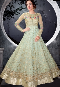 Sky Blue Net Layered Floor Length Anarkali Suit - 7002a