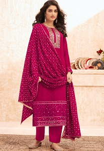 Pink Georgette Embroidered Straight Trouser Suit - 7003