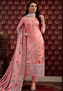 Pink Satin-Crepe Printed Trouser Straight Suit - 70121