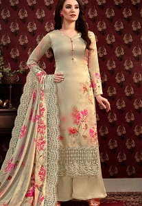 Beige Satin-Crepe Printed Palazzo Style Straight Suit - 70126