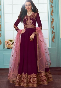 Magenta Georgette Floor Length Anarkali Suit - 7080