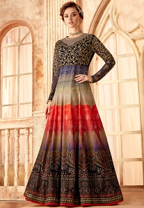 Multi Color Velvet Embroidered Designer suit - 7091