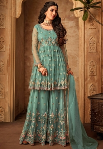 Sky Blue Net Embroidered Sharara Style Pakistani Suit - 71001
