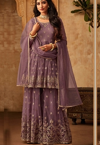 Purple Net Embroidered Sharara Style Pakistani Suit - 71004