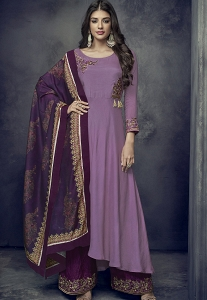 Mauve Maslin Palazzo Style Embroidered Pakistani Suit - 712