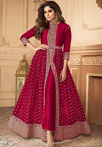 Shamita Shetty Dark Pink Georgette Bollywood Anarkali Suit - 7152F