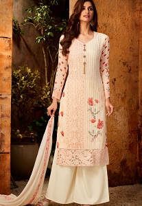 Light Pink Georgette Printed Resham Embroidered Palazzo Suit - 7174