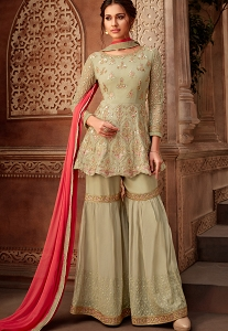 Pastel Green Georgette Embroidered Sharara Style Suit - 7195