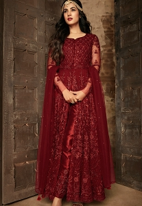 Sonal Chauhan Maroon Net Embroidered Trouser Style Anarkali Suit - 7204