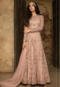 Sonal Chauhan Peach Net Embroidered Long Trouser Style Anarkali Suit - 7207