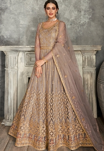 Grey Net Embroidered Long Anarkali Suit - 7226