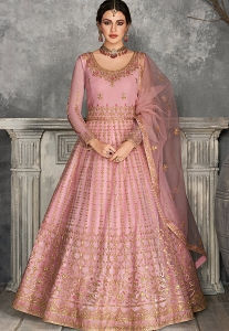 Pink Net Embroidered Long Anarkali Suit - 7227