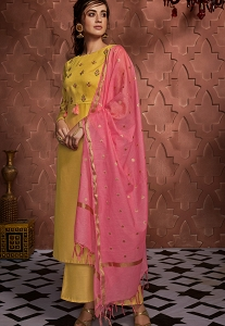 Yellow Art Silk Palazzo Straight Suit - 723