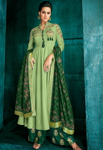 Green Muslin Long Embroidered Palazzo Style Suit - 726