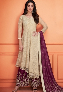 Beige & Purple Muslin Embroidered Palazzo Style Suit - 731