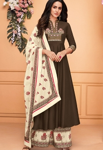Brown Muslin Embroidered Printed Palazzo Suit - 744