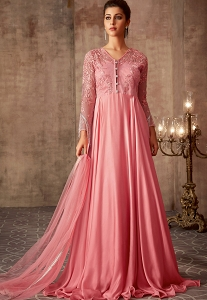 Pink Silk Georgette Floor Length Gown - 75008