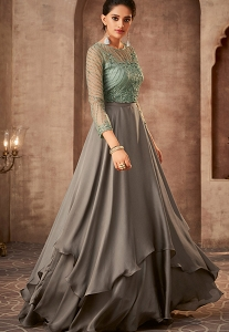Grey Silk Georgette Floor Length Gown - 75010