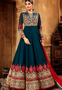 Peacock Blue Georgette Embroidered Anarkali Suit - 7715