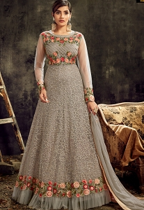 Grey Net Embroidered Floor Length Abaya Style Suit - 7723