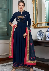 Navy Blue Muslin Long Palazzo Suit - 781