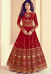 Shamita Shetty Maroon Melbourne Silk Long Anarkali Suit - 8001
