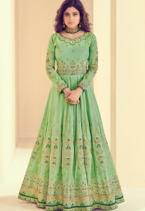 Shamita Shetty Sea Green Melbourne Silk Long Anarkali Suit - 8002