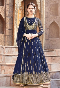 Navy Blue Georgette Embroidered Long Anarkali Suit - 8005