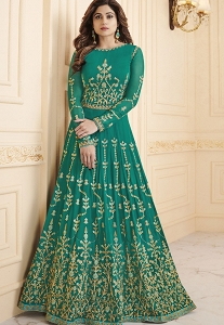 Shamita Shetty Green Georgette Long Anarkali Suit - 8031