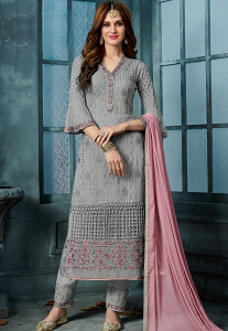 Grey Georgette Embroidered Straight Trouser Style Suit - 805