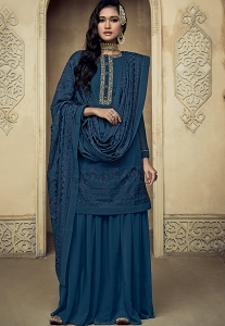Royal Blue Georgette Embroidered Sharara Pakistani Suit - 8102