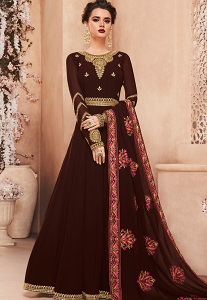 Brown Georgette Long Embroidered Anarkali Suit - 8121