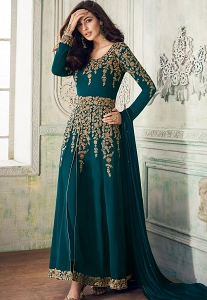 Blue Shade Georgette Embroidered Front Slit Trouser Style Suit - 8204