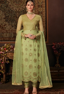 Green Net & Banarasi Silk Pakistani Suit - 8208