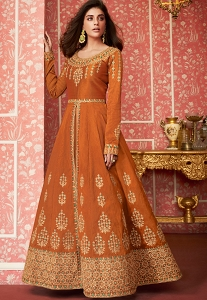 Orange Art Silk Embroidered Floor Length Anarkali Suit - 8296