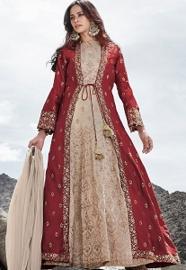 Cream & Maroon Silk Embroidered Long Jacket Style Anarkali Suit - 83003