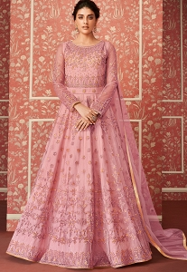 Pink Butterfly Net Embroidered Floor Length Anarkali Suit - 8303