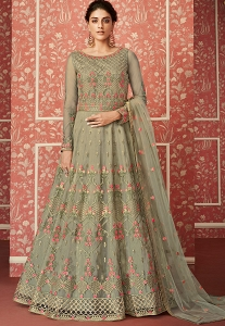 Dark Green Butterfly Net Embroidered Floor Length Anarkali Suit - 8305